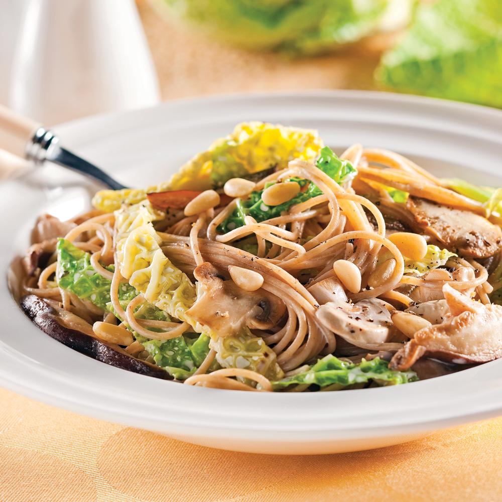 Spaghettinis au chou kale et aux champignons