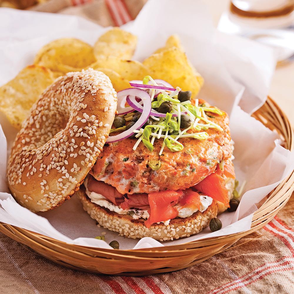 Bagels-burgers aux deux saumons