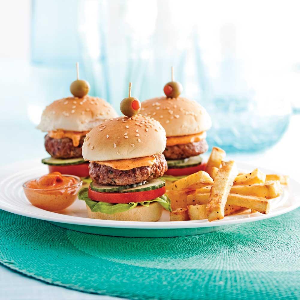 Mini-burgers et mayo épicée