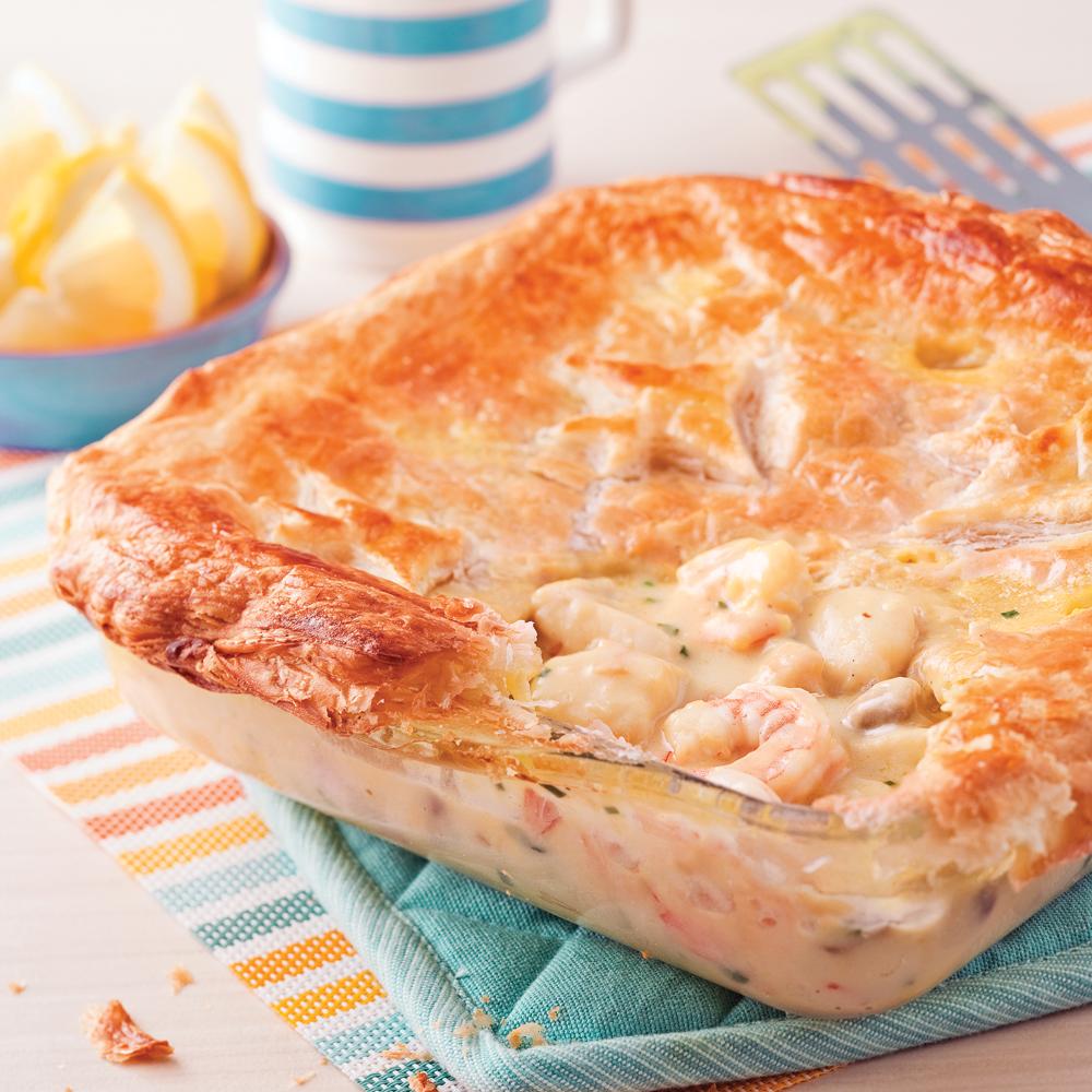 Pâté feuilleté aux crevettes et poisson blanc