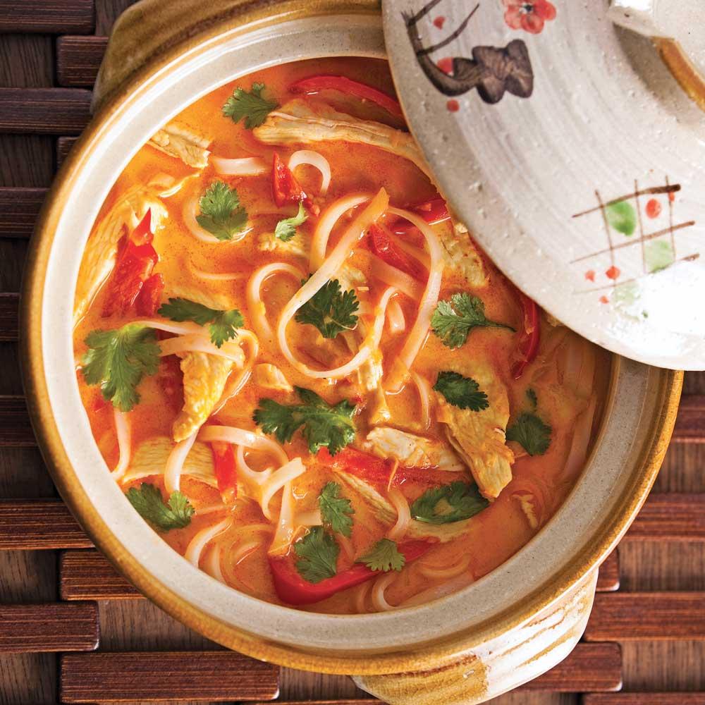 Soupe-repas épicée au poulet et lait de coco