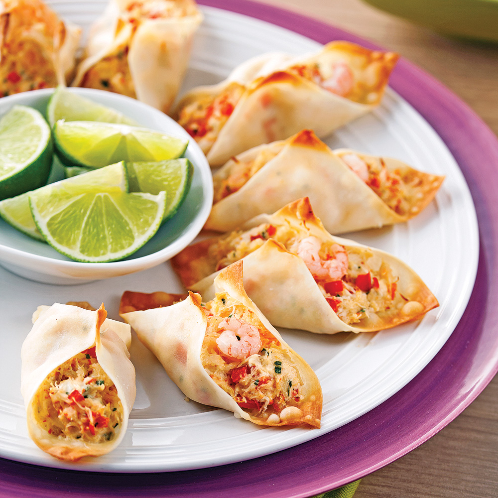 Mini-tacos de wonton au crabe et crevettes nordiques