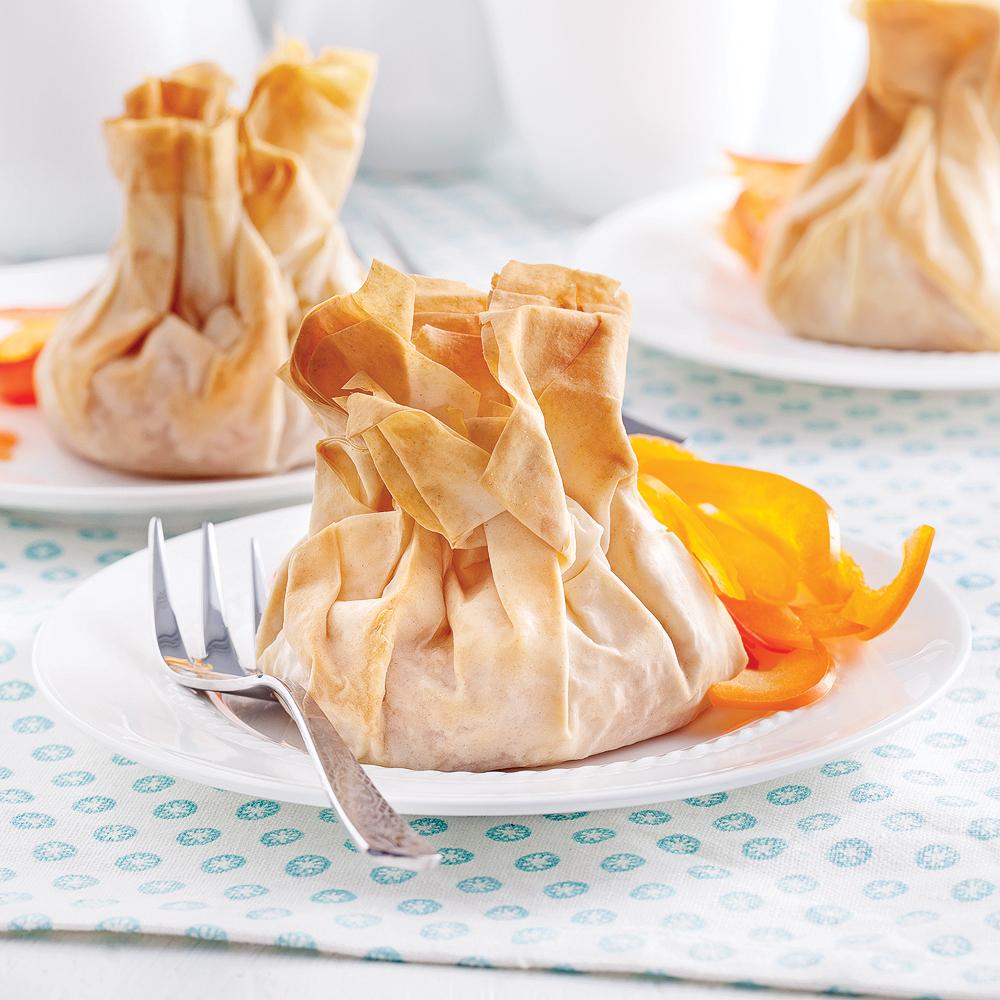Baluchons au fromage fondant, poires et gingembre