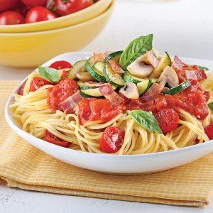 Spaghettis sauce minute aux tomates cerises et basilic