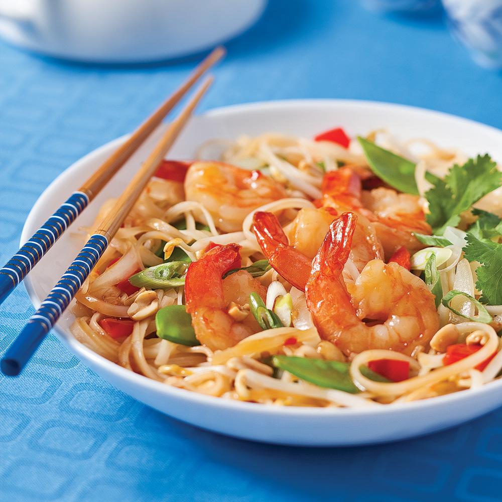 Pad thaï aux crevettes et arachides