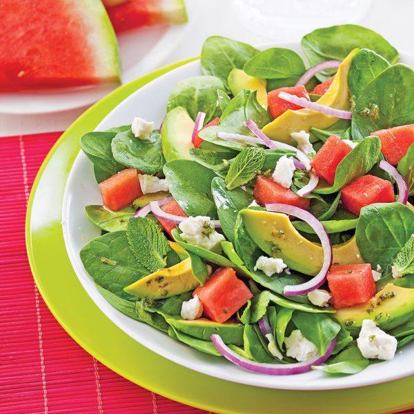 Salade d'avocats, melon d'eau et feta