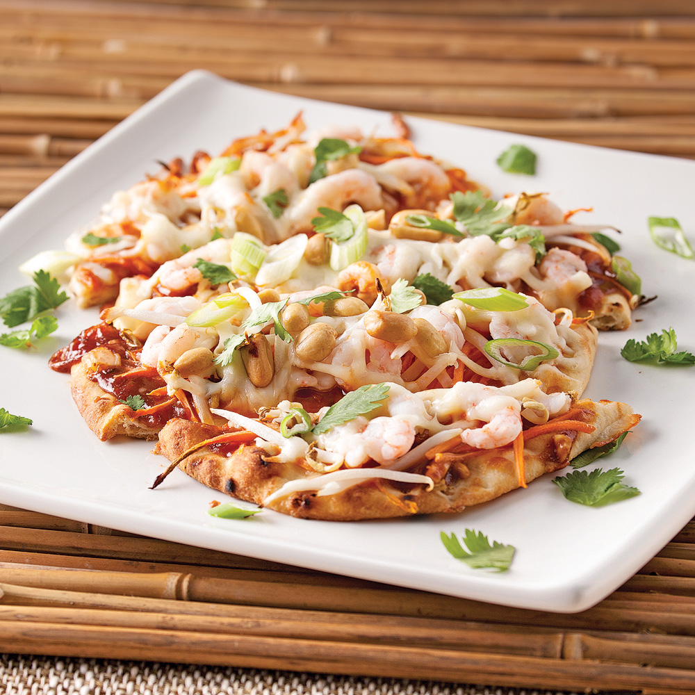 Pizza «pad thaï» aux crevettes nordiques