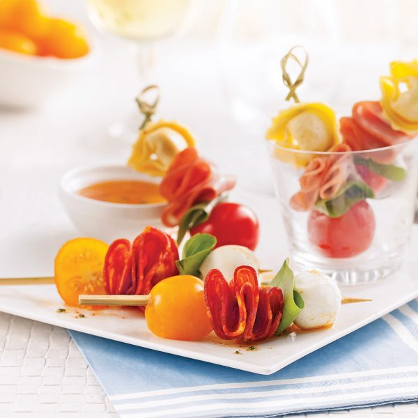Duo de mini-brochettes antipasto