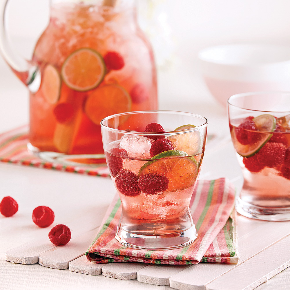 Punch rosé lime et framboises