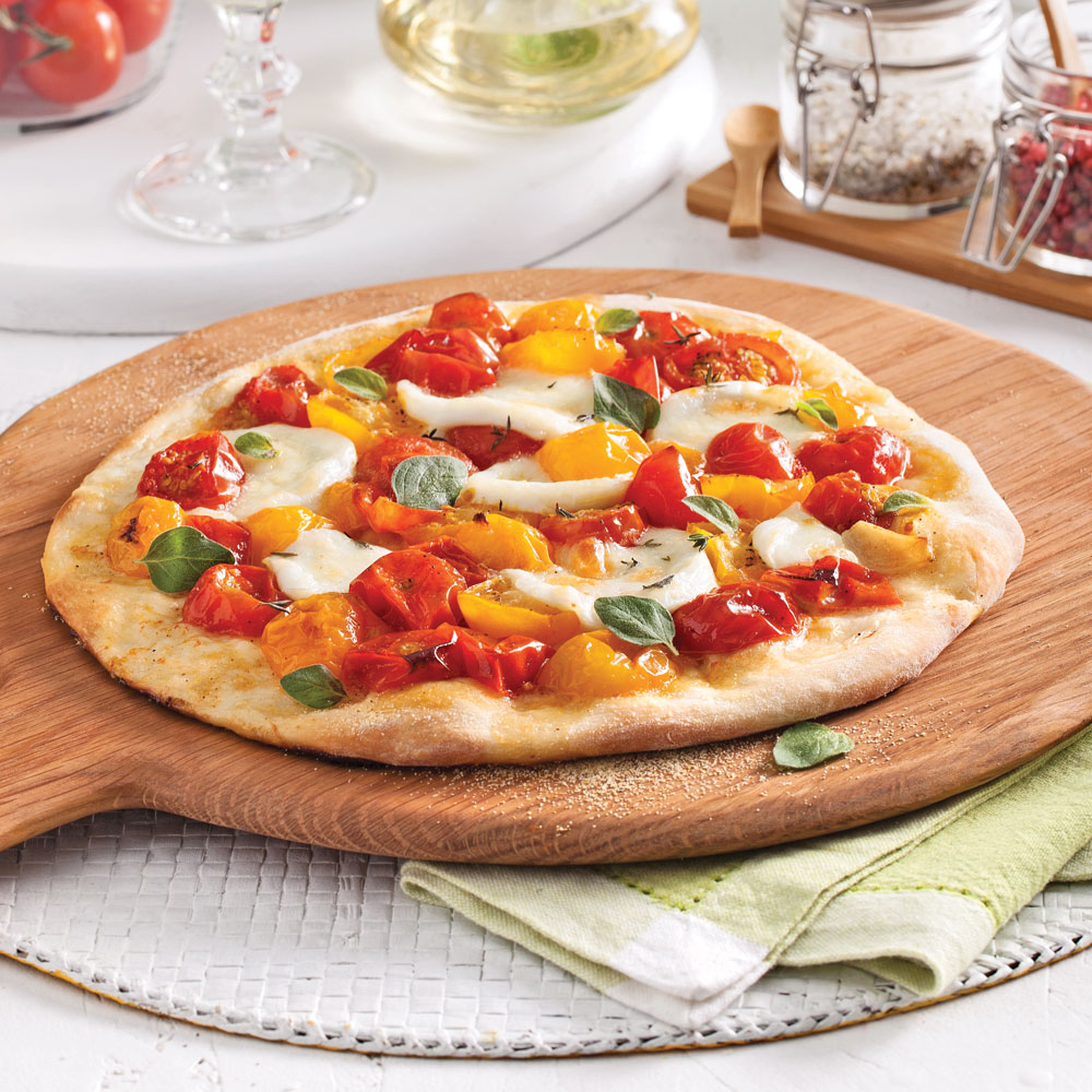 Pizza margarita aux tomates confites