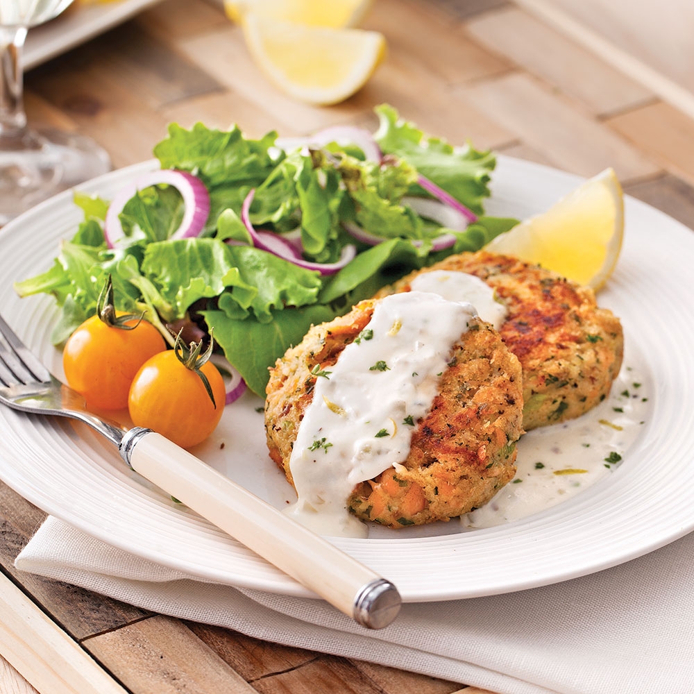 Croquettes de saumon, sauce citronnée