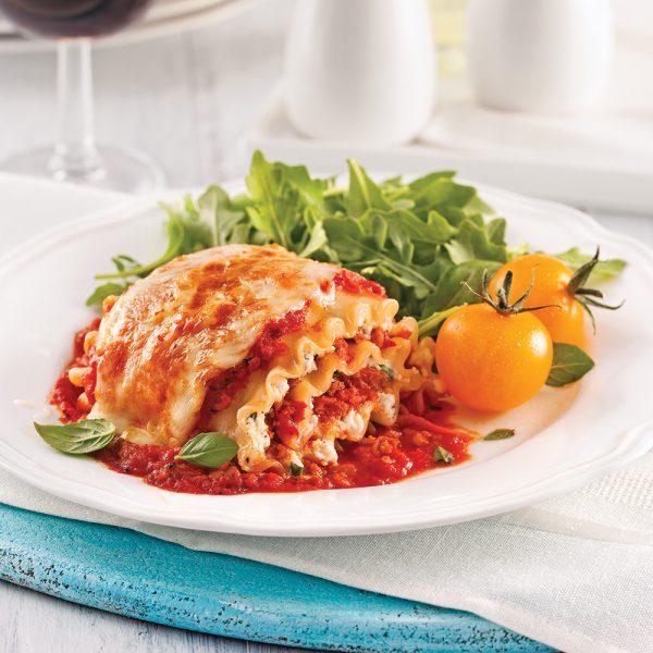 Rouleaux de lasagne, sauce à la viande