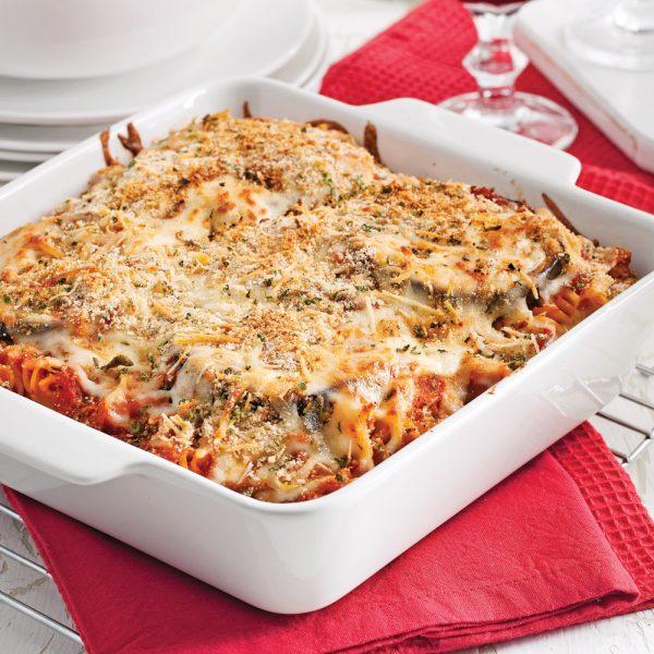 Gratin de pâtes et aubergine parmigiana