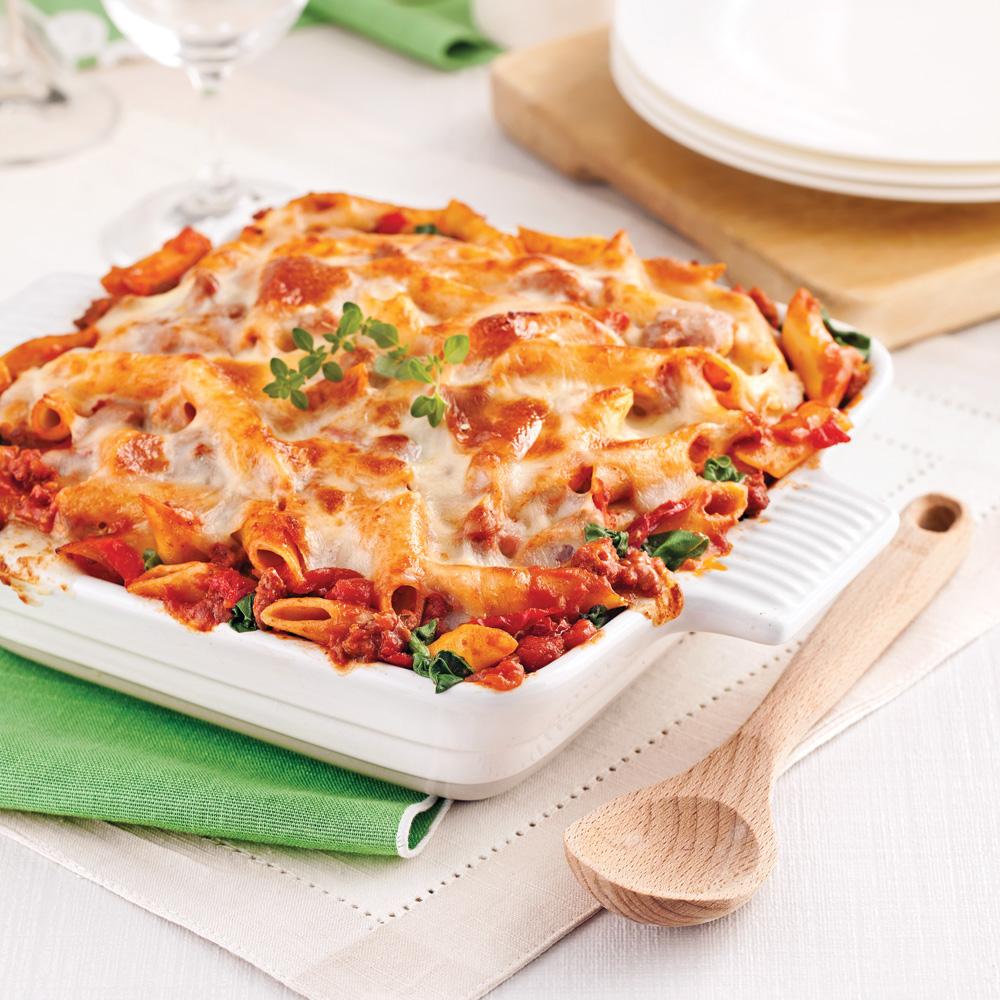 Gratin de pâtes, sauce italienne aux tomates séchées