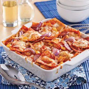 Gratin de raviolis aux légumes grillés