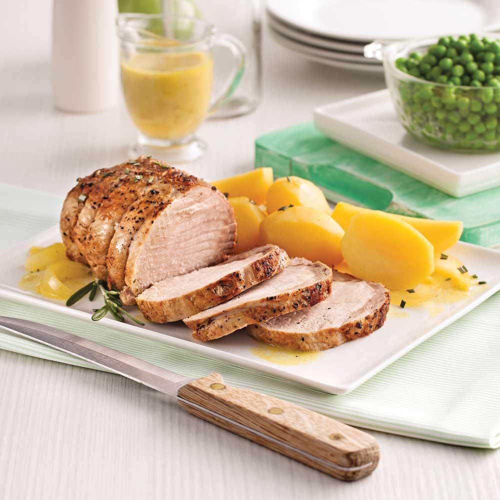 Rôti de porc à l'ail et patates jaunes