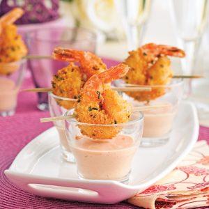 Crevettes croustillantes et sauce cocktail crémeuse