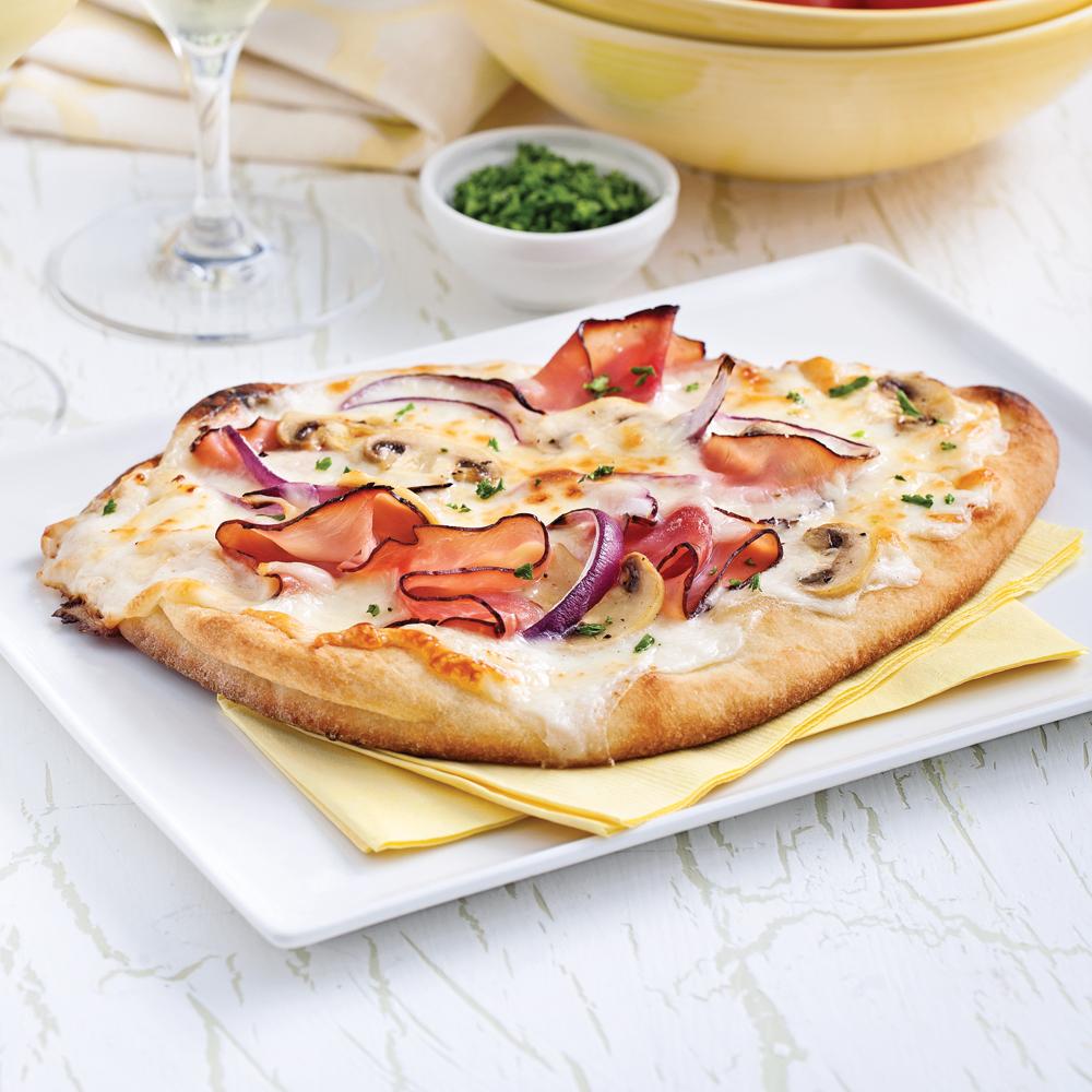 Pizza Alfredo au jambon et champignons