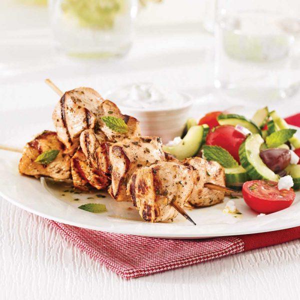 Souvlakis de poulet et tzatziki