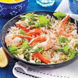 Salade d'orzo et crevettes à l'italienne