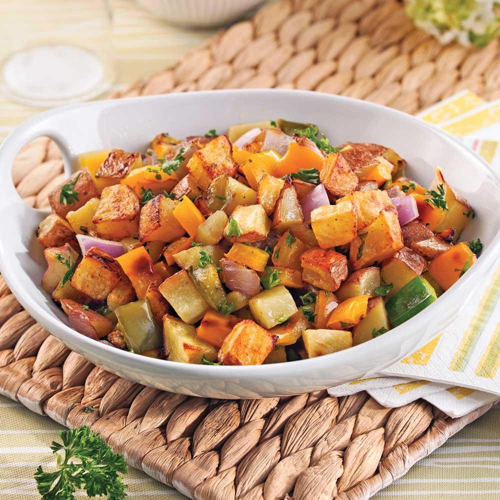 Pommes de terre aux petits légumes et ail