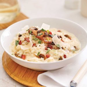 Risotto crémeux aux champignons et pancetta