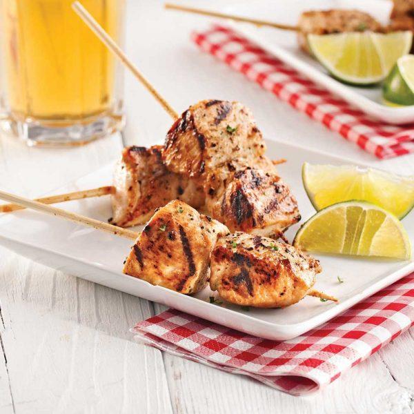 Mini-brochettes de poulet à la bière et au miel