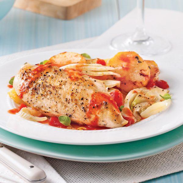Poitrines de poulet à l'italienne et légumes au four