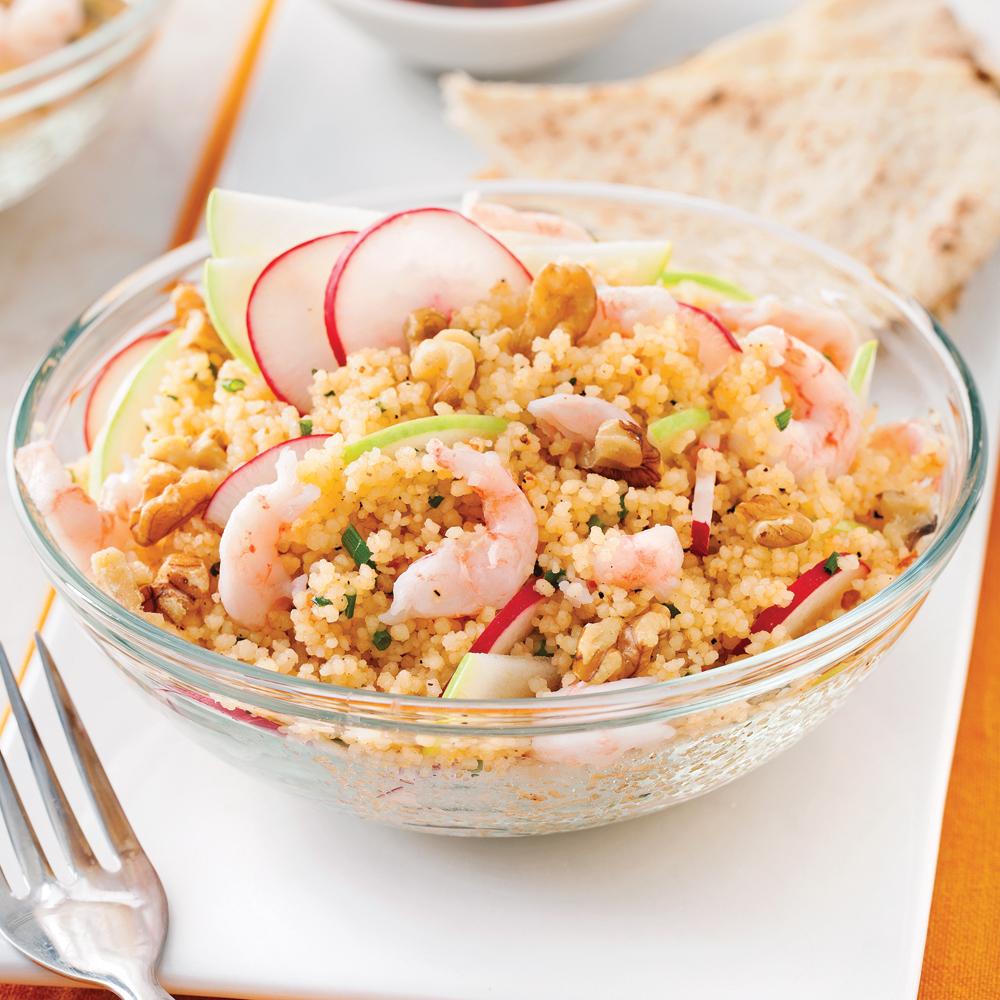 Salade de couscous aux crevettes nordiques et pomme verte