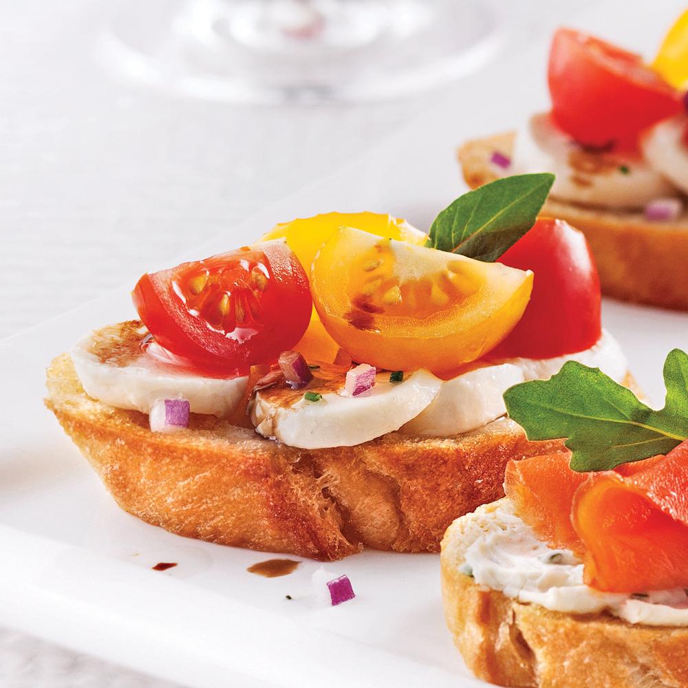 Bruschettas tièdes aux tomates et bocconcinis