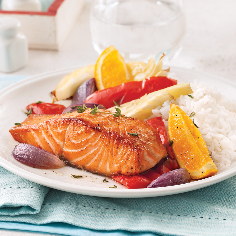 Saumon à l'orange et légumes au four