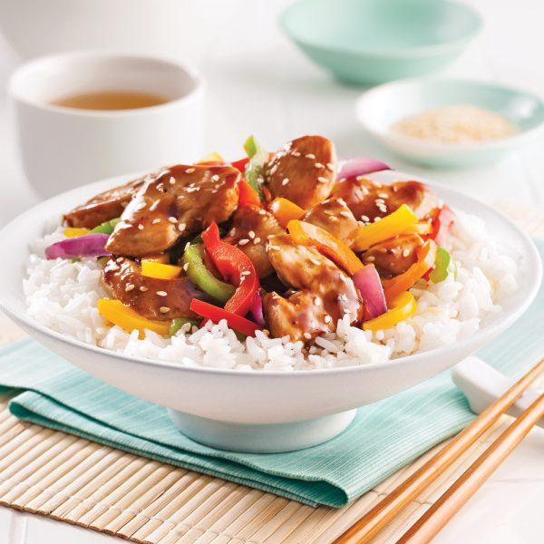 Poulet teriyaki et légumes sautés