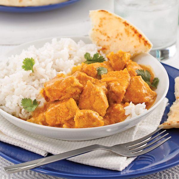 Cari de poulet à l'indienne et riz basmati
