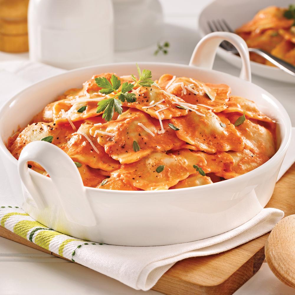 Raviolis au veau, sauce crémeuse aux tomates séchées