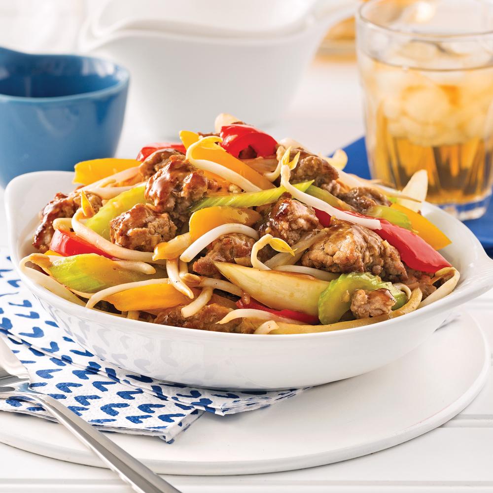 Chop suey au porc haché