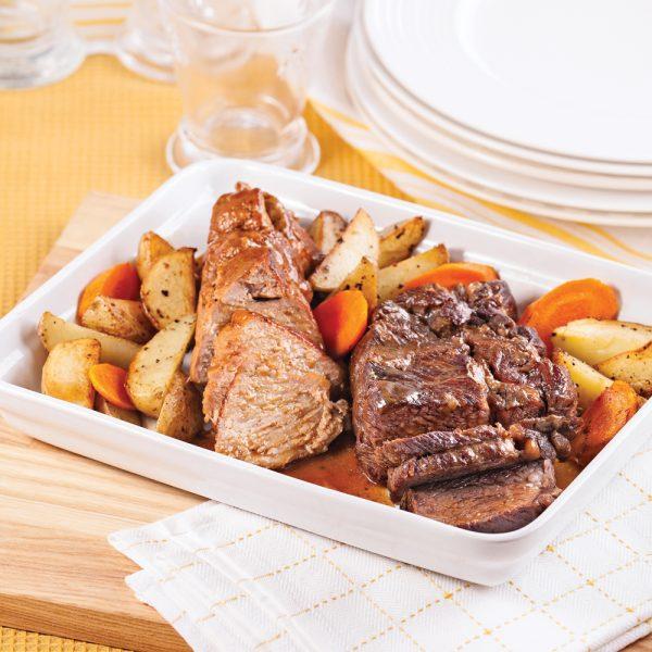 Rôtis de porc et de boeuf