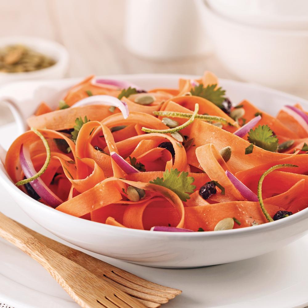 Salade de carottes et graines de citrouille rôties