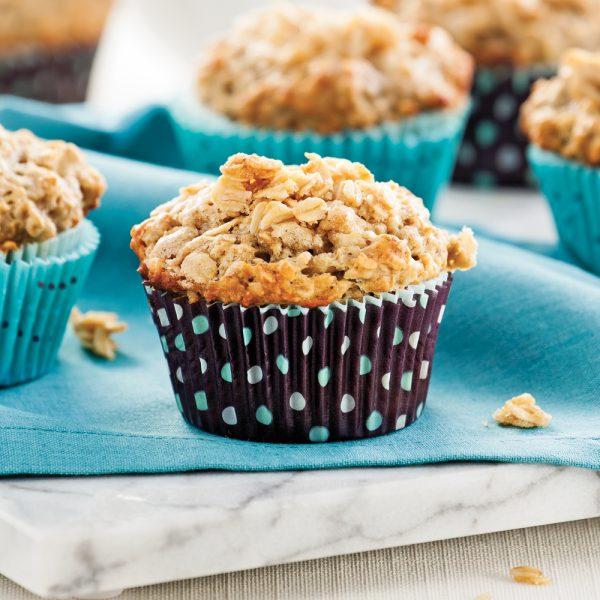 Muffins aux bananes, garniture à l'avoine et à l'érable