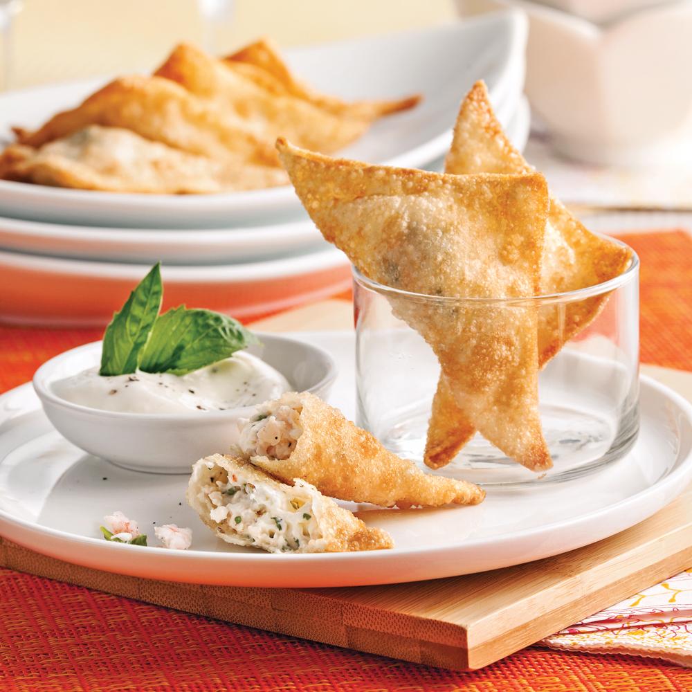Triangles de wonton aux crevettes