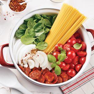 Spaghettis aux tomates, épinards et chorizo