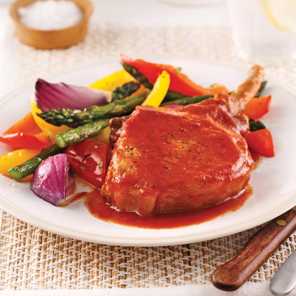 Côtelettes de porc barbecue et érable pour sacs à congeler