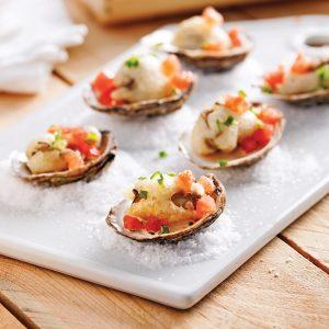 Huîtres en tempura, sauce crémeuse aux agrumes et soya