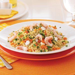 Salade de couscous de blé entier et crevettes nordiques