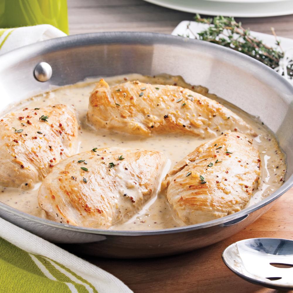 Poitrines de poulet crème d'érable et moutarde