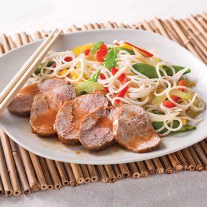 Filets de porc gingembre-érable sur nouilles chinoises