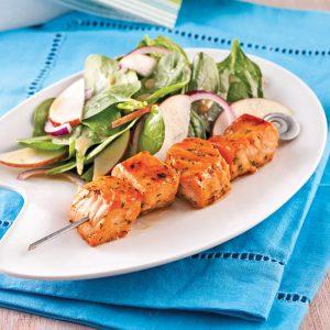 Brochettes de saumon caramélisé à l'érable