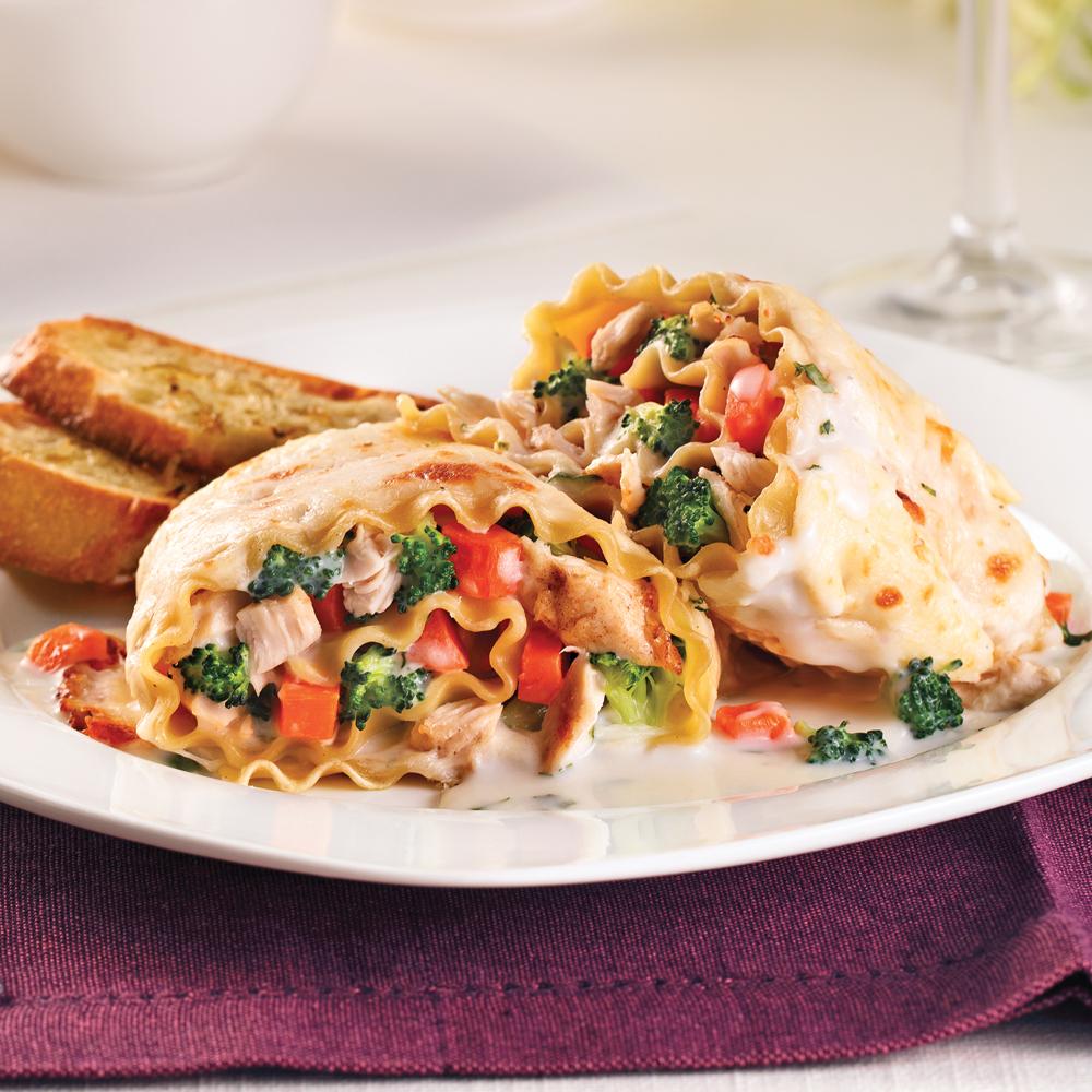 Lasagnes roulées au poulet Alfredo