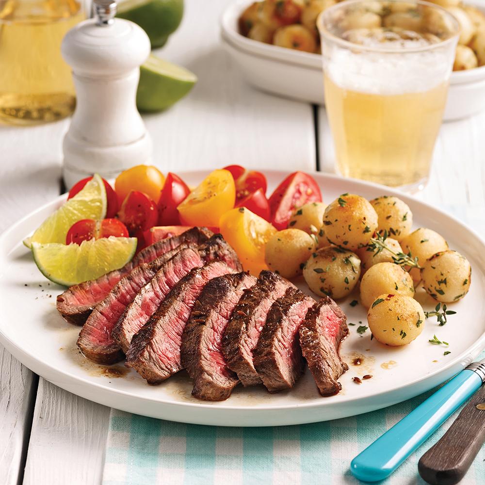 Steak de flanc tequila, lime et ail