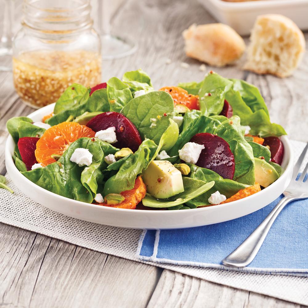 Salade de betteraves, mandarines et pistaches