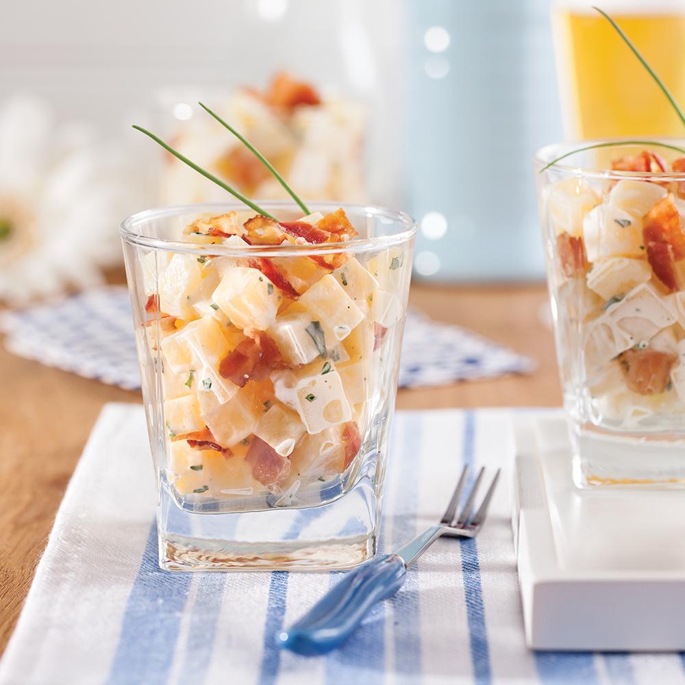 Salade de pommes de terre et bacon en verrines